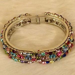 Jewelry - Stunning Multicolored Crystal SilverTone Bracelet